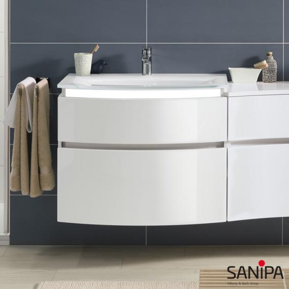 Sanipa CurveBay Waschtischunterschrank mit LED-Beleuchtung mit 2 Auszügen Front weiß glanz / Korpus weiß glanz