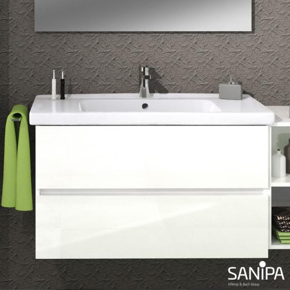 Sanipa Solo One Harmonia Waschtisch mit Waschtischunterschrank mit 2 Auszügen Front weiß glanz / Korpus weiß glanz