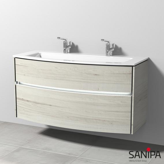 Sanipa TwigaGlas Doppelwaschtisch mit Waschtischunterschrank mit 2 Auszüge Front linde hell / Korpus linde hell