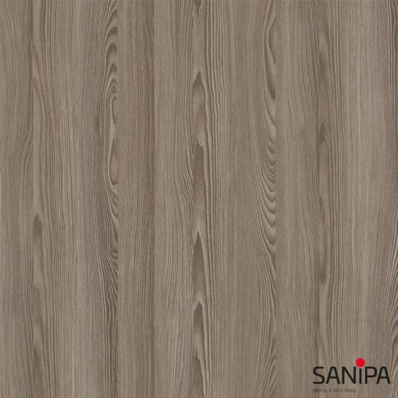 Sanipa TwigaGlas Handwaschbecken mit Waschtischunterschrank mit 1 Tür Front pinie grau / Korpus pinie grau
