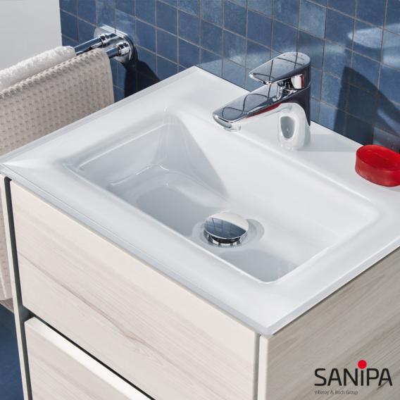Sanipa TwigaGlas Handwaschbecken mit Waschtischunterschrank mit 1 Tür Front pinie schwarz / Korpus pinie schwarz