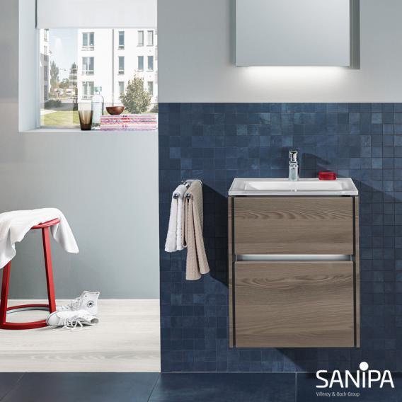 Sanipa TwigaGlas Handwaschbecken mit Waschtischunterschrank mit 2 Auszüge Front pinie schwarz / Korpus pinie schwarz