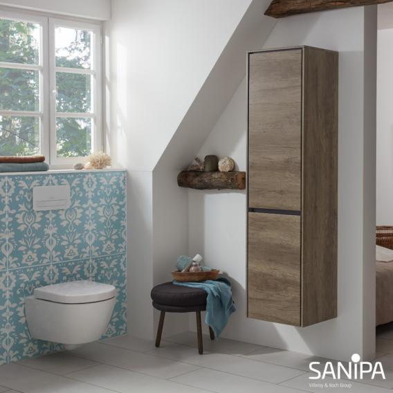 Sanipa TwigaGlas Hochschrank mit 1 Tür und 1 Wäschekippe Front weiß glanz / Korpus weiß glanz
