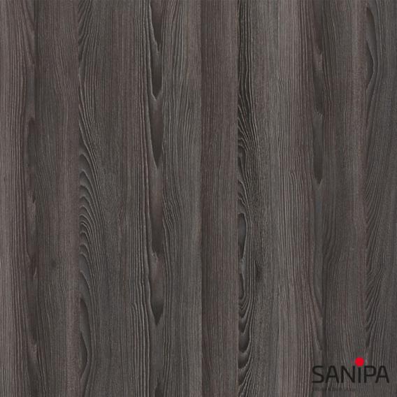 Sanipa TwigaGlas Hochschrank mit 1 Tür und 1 Wäschekippe Front pinie schwarz / Korpus pinie schwarz