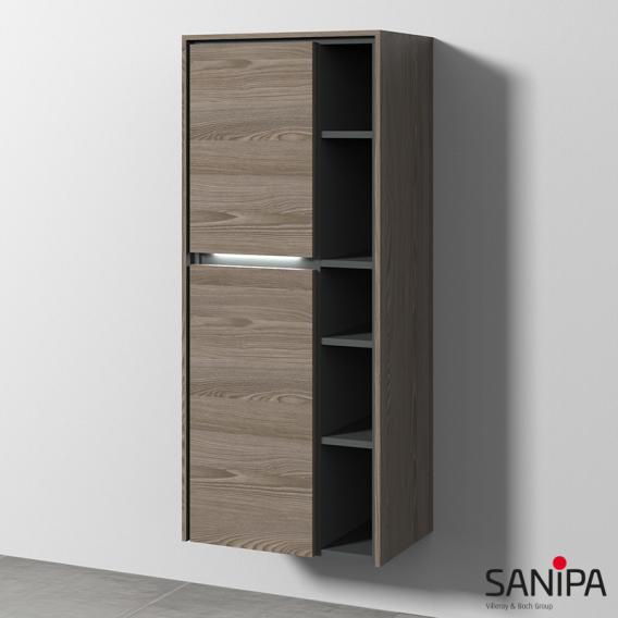Sanipa TwigaGlas Stauraumschrank mit 2 Türen Front pinie grau / Korpus pinie grau