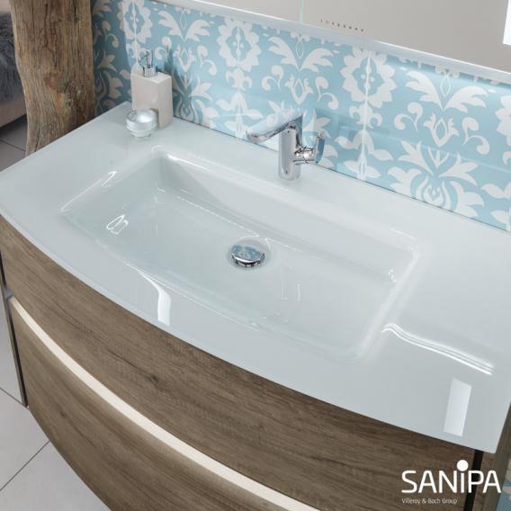 Sanipa TwigaGlas Waschtisch mit Waschtischunterschrank mit 2 Auszüge Front eiche kansas / Korpus eiche kansas