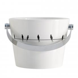 Scarabeo Bucket Aufsatz- oder Hängewaschbecken mit Dekor weiß/schwarz