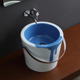 Scarabeo Bucket Aufsatzwaschbecken mit Dekor weiß/blau