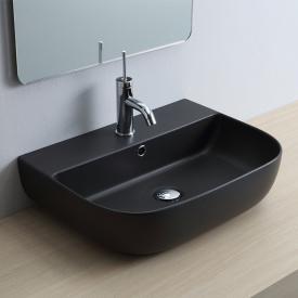 Scarabeo Glam Aufsatz- oder Hängewaschbecken schwarz matt, mit BIO System Beschichtung