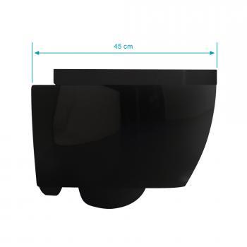 Scarabeo Moon Wand-Tiefspül-WC, kurze Ausführung, ohne Spülrand schwarz, mit BIO System