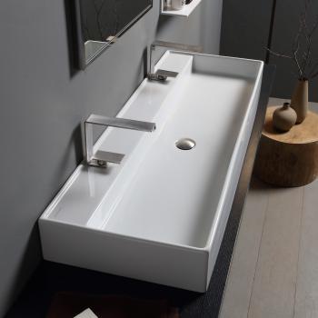 Scarabeo Teorema RB Doppel-Aufsatz- oder Hängewaschbecken weiß, mit BIO System
