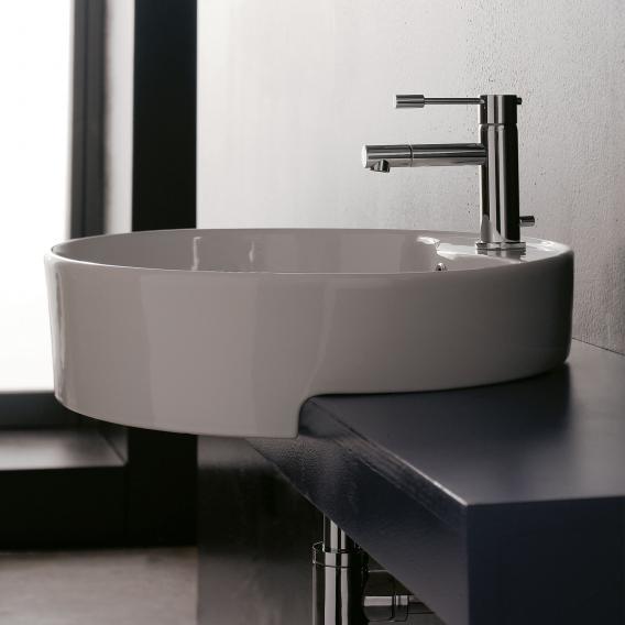 Scarabeo Geo D Halbeinbauwaschbecken weiß, mit BIO System Beschichtung
