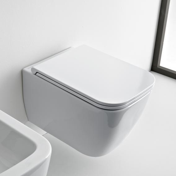 Scarabeo Teorema 2.0 Wand-Tiefspül-WC mit WC-Sitz, ohne Spülrand weiß, mit BIO System Beschichtung