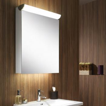 Schneider FACELINE Spiegelschrank mit LED-Beleuchtung silber eloxiert, Steckdose rechts