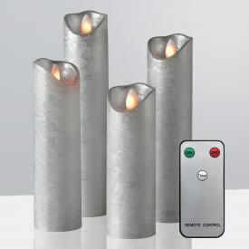 Sompex Shine LED Echtwachskerzen 4er Set mit Timer und Fernbedienung, lang