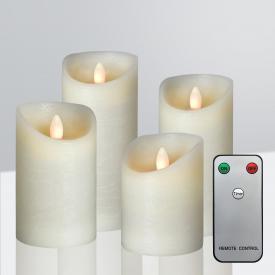 Sompex Shine LED Echtwachskerzen 4er Set mit Timer und Fernbedienung, kurz