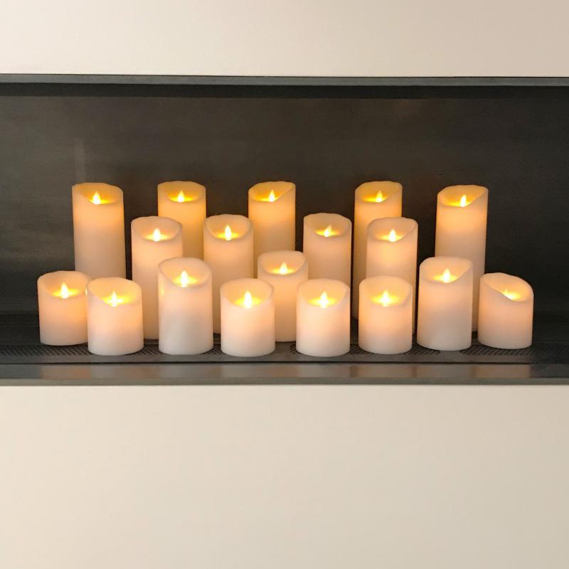 Fernbedienung 35731 Kerze 4er Set Sompex Flame LED Echtwachs Kerzen 18cm weiß