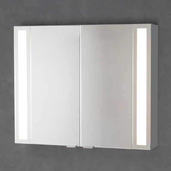 Sprinz Silver-Line Aufputz Spiegelschrank mit LED-Beleuchtung mit 2 Türen Korpus aluminium matt, ohne Hintergrundbeleuchtung