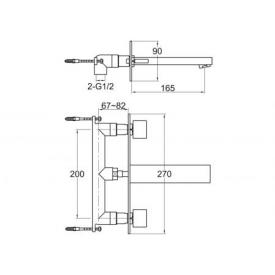 Steinberg Serie 160 3-Loch Waschtisch-Armatur für Wandmontage Ausladung: 195 mm