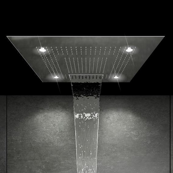 """Steinberg Sensual Rain """"iFlow"""" Duschsystem, mit Sensual Rain """"Wall Rain"""" Regenpaneel, eckig edelstahl poliert/chrom, mit Beleuchtung"""