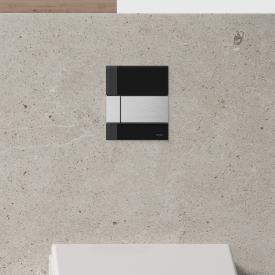 TECE square Glas Urinal-Betätigungsplatte inkl. Kartusche schwarz/edelstahl gebürstet