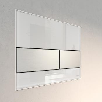 TECE square Glas WC-Betätigungsplatte für 2-Mengen-Technik weiß/edelstahl gebürstet