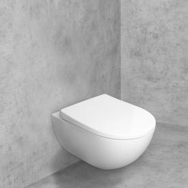 Geberit Acanto Wand-Tiefspül-WC & Tellkamp Premium 9000 WC-Sitz SET, ohne Spülrand weiß, mit KeraTect