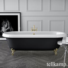 Tellkamp Antiqua Plus Freistehende Oval-Badewanne weiß glanz, Schürze schwarz glanz
