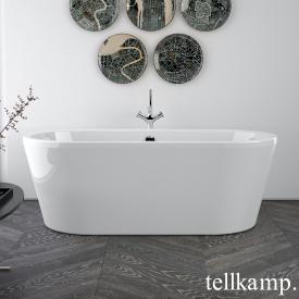 Tellkamp Easy Freistehende Oval-Badewanne weiß glanz, Schürze weiß glanz, mit Wanneneinlauf