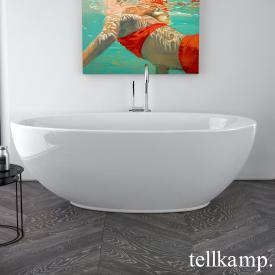 Tellkamp Neon Freistehende Oval Badewanne weiß glanz, Schürze weiß glanz, ohne Füllfunktion