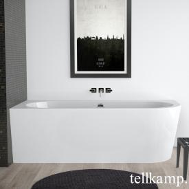 Tellkamp Pio Eck-Badewanne mit Verkleidung weiß glanz, Schürze weiß glanz, mit Wanneneinlauf