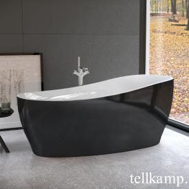 Tellkamp Sao Freistehende Oval-Badewanne weiß glanz, Schürze schwarz glanz, ohne Füllfunktion