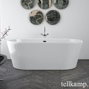 Tellkamp Easy freistehende Oval Badewanne weiß glanz, Schürze weiß glanz