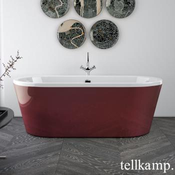 Tellkamp Easy freistehende Oval Whirlwanne weiß glanz, Schürze rot glanz