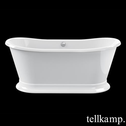 Tellkamp Scala Base freistehende Oval Badewanne Wanne weiß, Ablaufgarnitur chrom