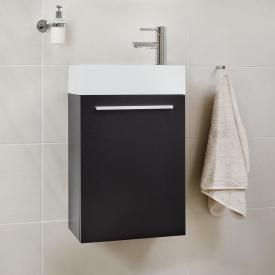 Treos Serie 900 Handwaschbecken mit Waschtischunterschrank mit 1 Tür Front schwarz seidenmatt / Korpus schwarz seidenmatt