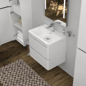 Treos Serie 920 Waschtisch mit Waschtischunterschrank mit 2 Auszügen Front weiß / Korpus weiß, mit 1 Hahnloch