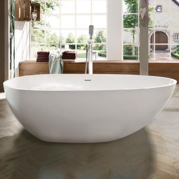 Treos Serie 700 freistehende Mineralguss Badewanne weiß