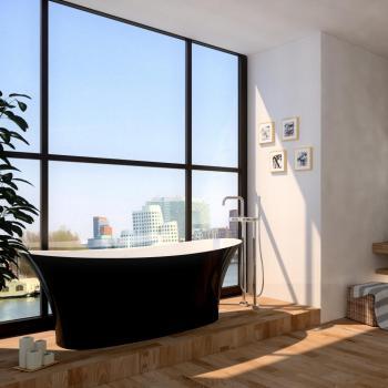 Treos Serie 730 freistehende Badewanne schwarz/weiß