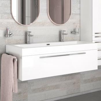 Treos Serie 902 Waschtischunterschrank mit Doppelwaschtisch weiß