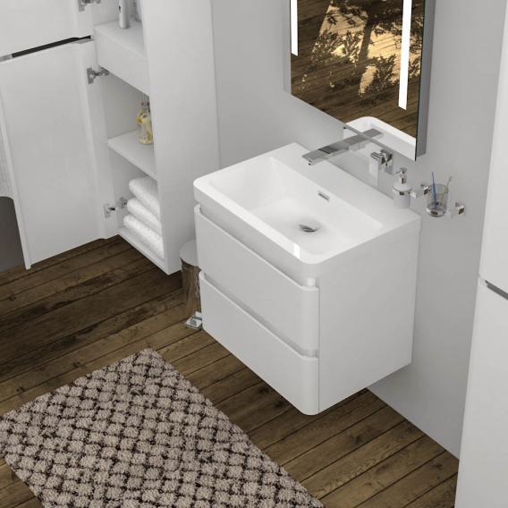 Treos Serie 920 Waschtisch mit Waschtischunterschrank mit 2 Auszügen Front weiß / Korpus weiß, ohne Hahnloch