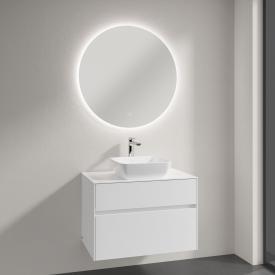 Villeroy & Boch Artis Aufsatzwaschtisch mit Embrace Waschtischunterschrank und More to See Lite Spiegel Front glossy white/verspiegelt / Korpus glossy white, Griffmulde weiß matt