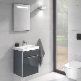 Villeroy & Boch Avento Handwaschbecken mit Waschtischunterschrank und More to See One Spiegel Front crystal grey/verspiegelt / Korpus crystal grey/verspiegelt