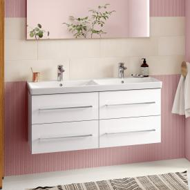 Villeroy & Boch Avento Waschtischunterschrank für Doppelwaschtisch mit 4 Auszügen Front crystal white / Korpus crystal white