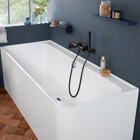 Villeroy & Boch Collaro Eck-Badewanne mit Verkleidung weiß/weiß, Ab-/Überlaufgarnitur chrom