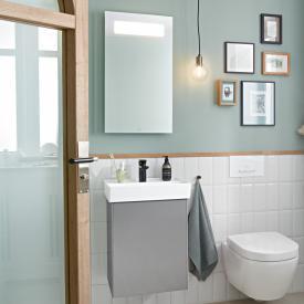 Villeroy & Boch Collaro Handwaschbecken mit Waschtischunterschrank und More to See 14 Spiegel Front glossy grey/verspiegelt / Korpus glossy grey/aluminium matt, Türanschlag links