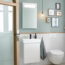 Villeroy & Boch Collaro Handwaschbecken mit Waschtischunterschrank und More to See 14 Spiegel Front glossy white/verspiegelt / Korpus glossy white/aluminium matt, Türanschlag links