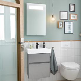 Villeroy & Boch Collaro Handwaschbecken mit Waschtischunterschrank und More to See 14 Spiegel Front glossy grey/verspiegelt / Korpus glossy grey/aluminium matt, Griffmulde anthrazit matt