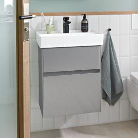 Villeroy & Boch Collaro Handwaschbeckenunterschrank mit 2 Auszügen Front glossy grey / Korpus glossy grey, Griffmulde anthrazit matt