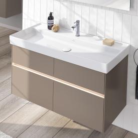 Villeroy & Boch Collaro LED-Waschtischunterschrank mit 4 Auszügen Front truffle grey / Korpus truffle grey, Griffmulde truffle grey